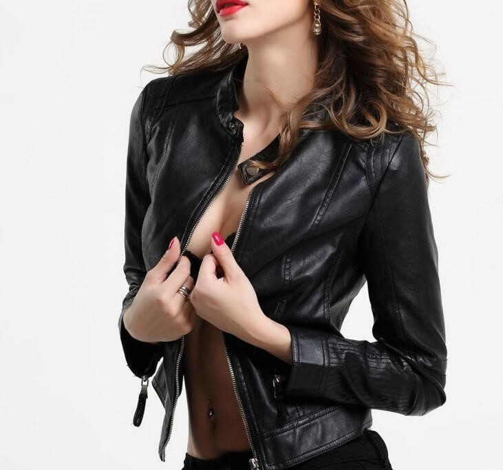 Black Latex Leather Coat