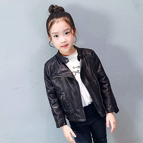 Cool girls Kids Leather Coat