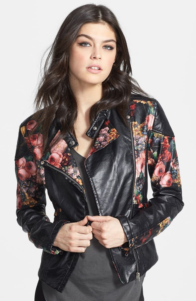 Floral Faux Leather Jacket