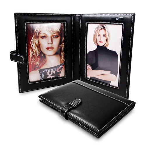 Leather Double Folding Photo Frame