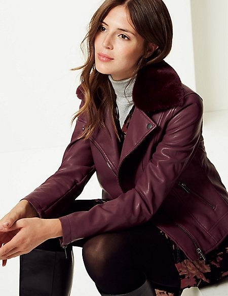 Plum Faux Leather Jacket