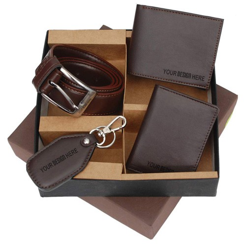 Wallet Card Holder Belt Key Chain Set