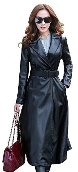 Women Long Full Length Leather Coat