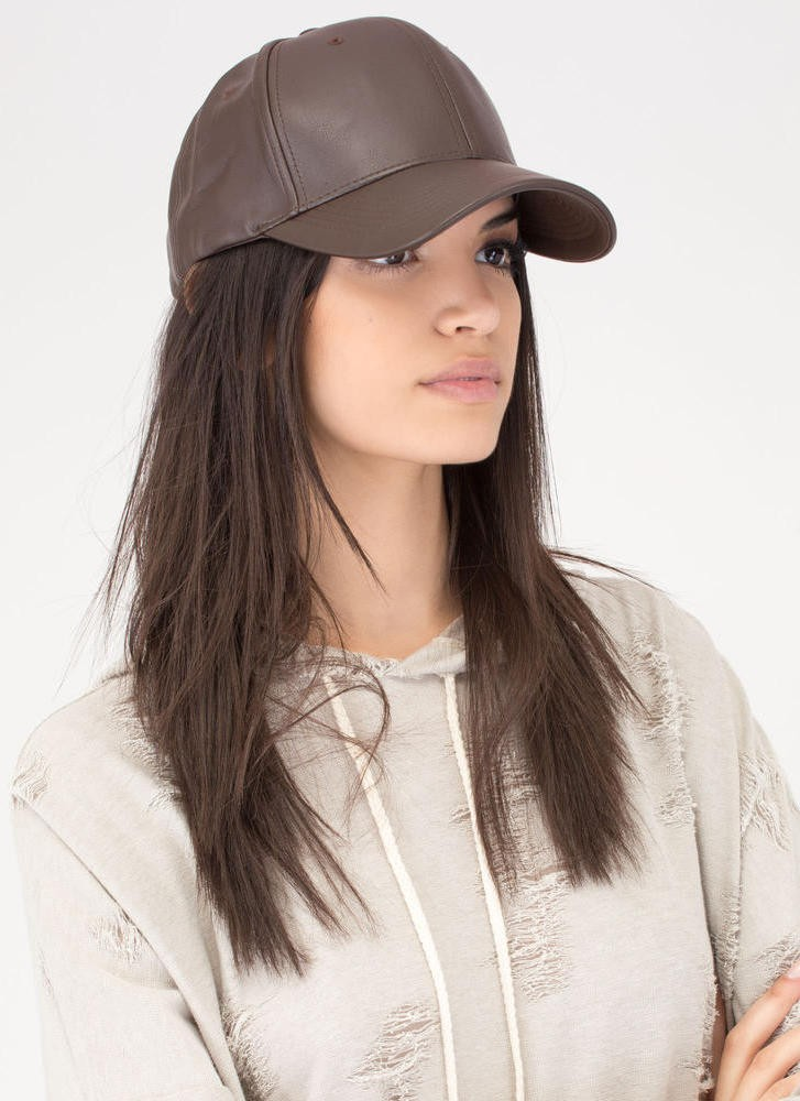 brown Faux leather cap