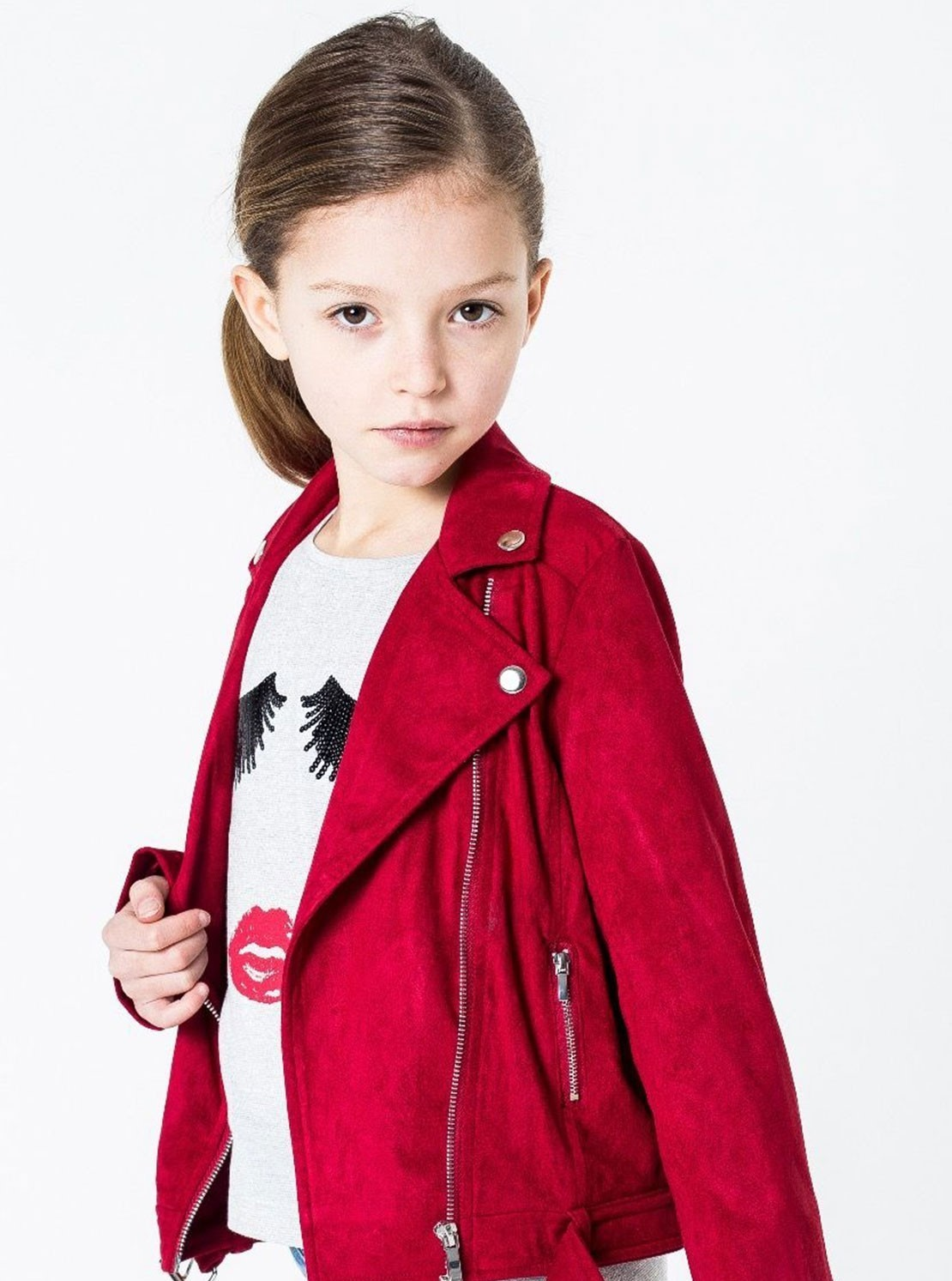 red stylish girl coat