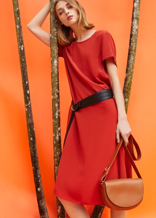 simple orange handbag